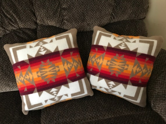 Wool Pillow Cover / Accent Pillow Cover 16 x 16 Tan Chief Joseph