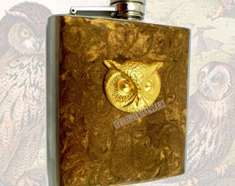 Steampunk Owl Head Flask Hip Flask Inlaid in Hand Painted Golden Bronze Enamel Neo Victorian Bird with Personalized and Color Options