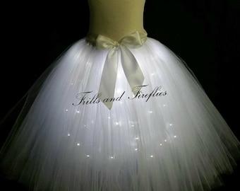 White LED Tulle Skirt/Light Up Tutu Skirt/Festival Clothing/Cosplay Costume/Costume/Fairy Lights/Tutu with Lights/Lighted Tutu Skirt/Gifts