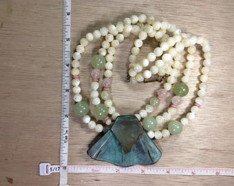 "Vintage 16"" Brass Mother Of Pearl Necklace Used"