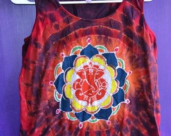 Ladies Small Tie Dye Batik Ganesha Mandala Tank Top Elephant
