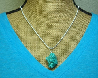 Natural Blue Turquoise Gemstone Nugget , Stamped 925 Sterling Silver Snake Chain Necklace