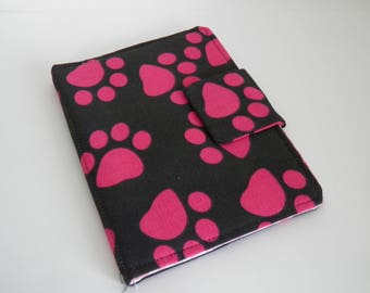 E-reader Case, Kindle Paperwhite Cover, Fabric Case, Kindle cover, Dogs pawns design, E-reader cover, handmade cover for ereader