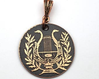 Copper lyre pendant, round flat etched antique Greek harp jewelry, optional necklace, 28mm