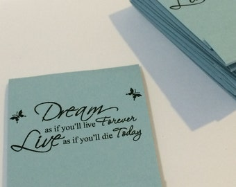 Dream as if You'll Live Forever Inspirational Pastel Blue Set of 10 Matchbook Mini Notepad Notebooks
