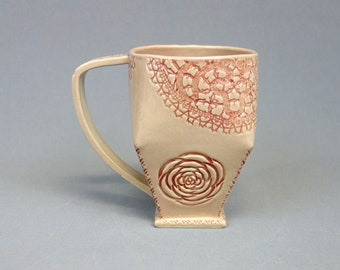 Pink Rosette and Vintage Lace Mug - Handbuilt Geometric Stoneware Ceramic Coffee Cup with Handle - Pink Mug with Rose and Doily Motif