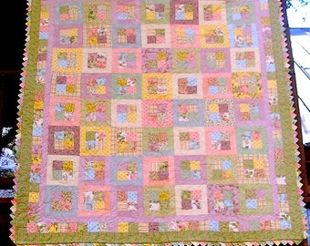 REDUCED!  72 x 80 Inch Hand Made Pastel Patchwork Quilt with Prairie Point Edges