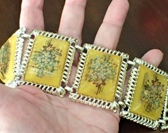 Yellow Lucite Wide Link Vintage Bracelet With Embedded For Get Me Not Transfers