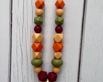 Silicone Baby Teething Necklace/Nursing Necklace/Baby Wearing Jewelry/Chewelry - Autumn Edition