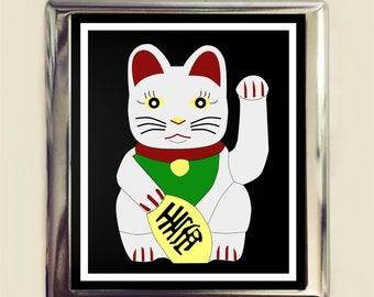 Maneki Neko Cigarette Case Business Card ID Holder Wallet Japanese Lucky Cat Japan