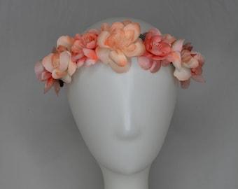 peach cherry blossom simple flower crown adjustable