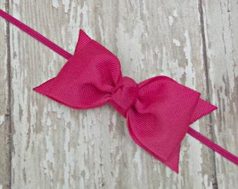 Boutique Shocking Pink Tuxedo Bow Skinny Elastic Headband Infant/Toddler Hair Bow Bowband