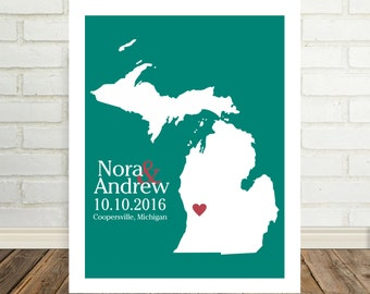 Michigan Wedding Gift Michigan Map Michigan Poster Michigan Print Housewarming Gift State Map Art Valentines Day Gift Christmas Gift for Him