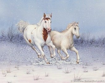 CUSTOM Watercolor Painting, Custom Pet Portrait, Custom Animal Portrait, Made-to-Order Watercolor Pet Painting (1 or 2 Animals) Horses, Dogs