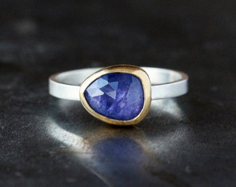 Rose Cut Tanzanite Ring, 22k Yellow Gold, Unique Engagement Ring, Sterling Silver Band, For Her, December Birthstone, Statement Ring