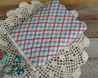 """Vintage Feedsack Patriotic Fabric - Antique Patriotic Feedsack, Feedsack Sewing Material, Feed Sack, Red, White + Blue Sewing Fabric 52""""-18"""