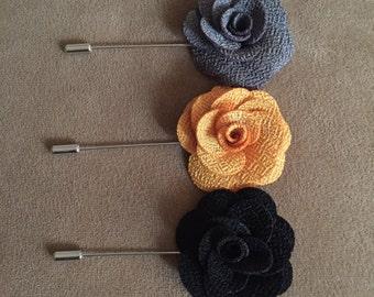 Set of 3 Lapel Flowers - Neutral Colors