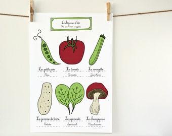 Summer Veggies Food Art Poster 13x19  French Kitchen Home Decor - Cute Vegetables Peas Tomato Zucchini Potato Spinach Mushroom