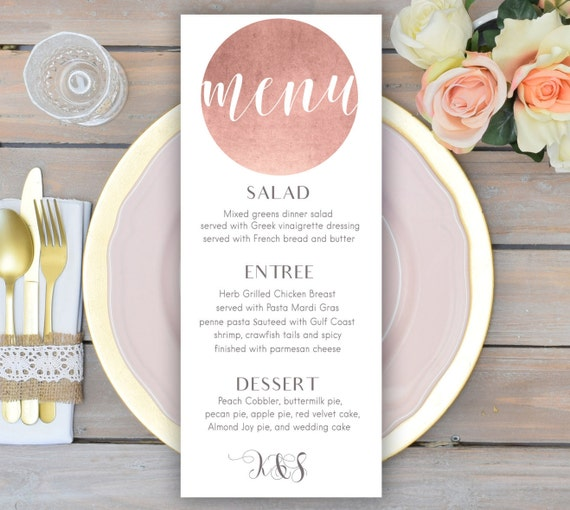 Rose Gold Wedding Menu Card Printable Wedding Menu