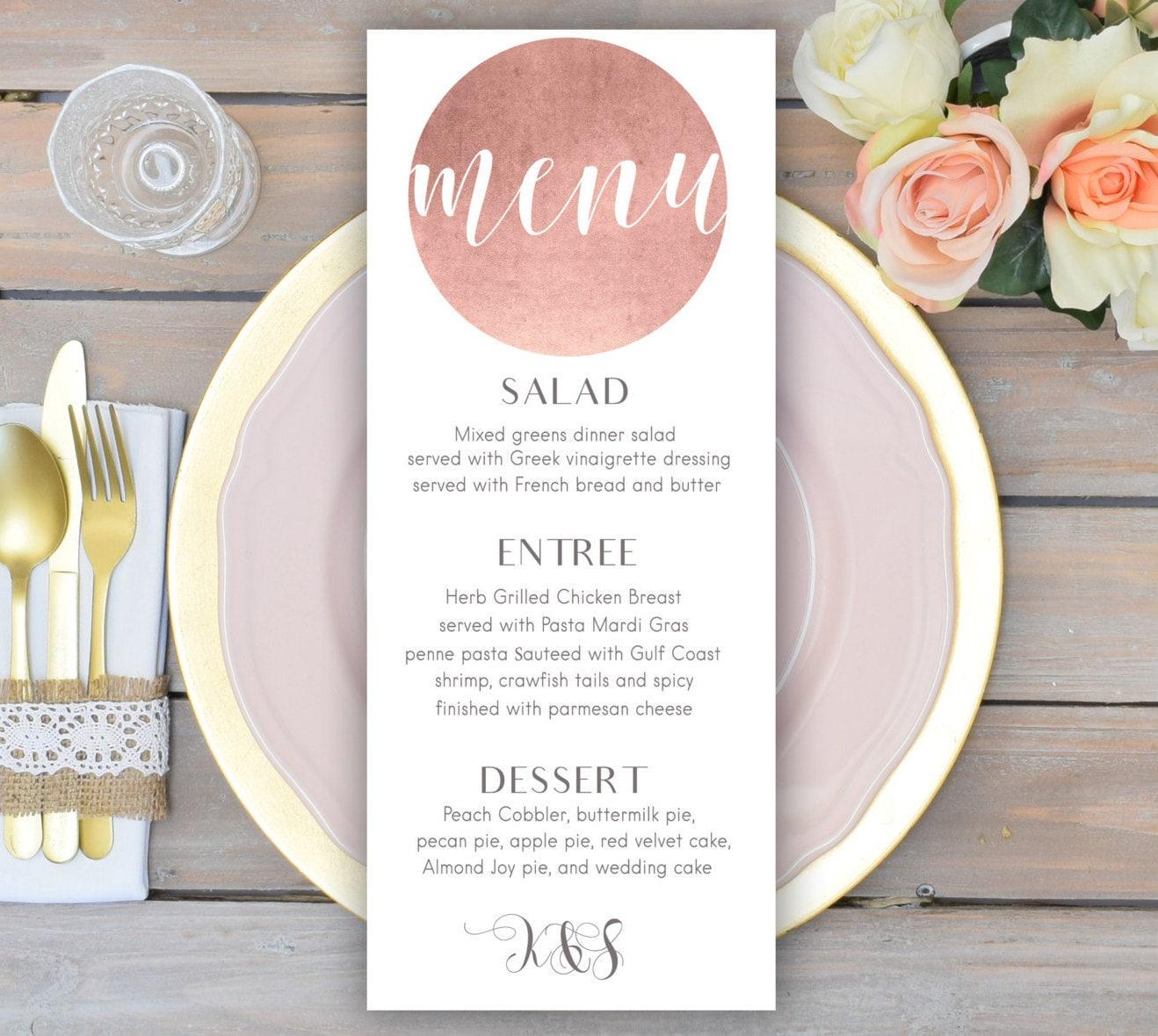Rose gold wedding menu card printable wedding menu zoom junglespirit Gallery
