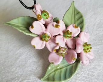 Dogwood Flowers Pink - Lampwork Glass Copper Wire - Pendant