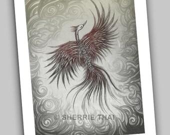 Skeleton Phoenix Bird in Flight, Bones, Dark Gothic Horror, Fine Art Print 8.5x11 inches