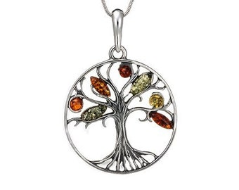 Amber wire wrap-baltic amber tree-silver pendant-004B