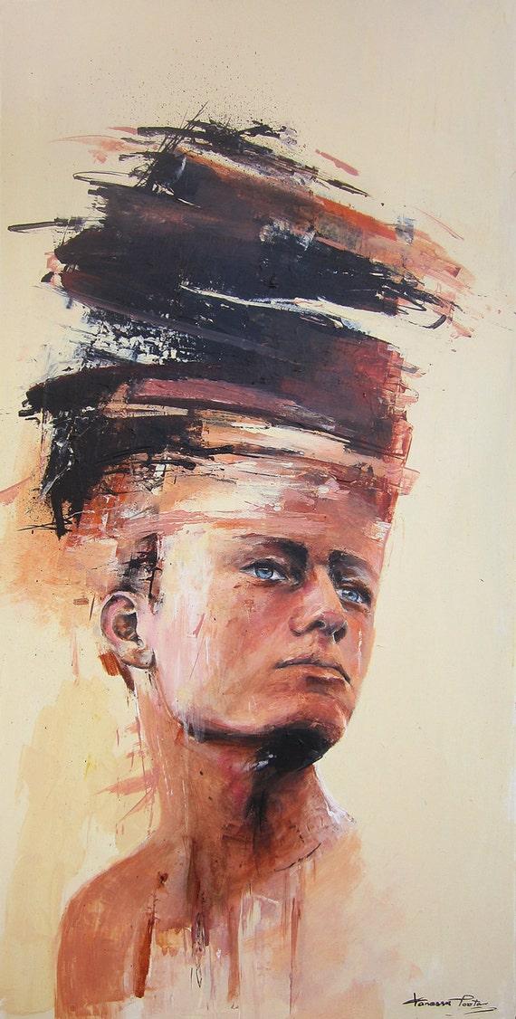 Abstract Male Portrait Original Painting Modern Art