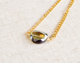 The Gem Necklace-Gold and purple green necklace, wire wrapped swarovski crystal on chain, for bridal parties, brides, and bridesmaids.