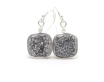 Druzy Earrings | Silver Druzy Earrings | Wire Wrapped Earrings | Dangle Druzy Earrings | Druzy Quartz Earrings