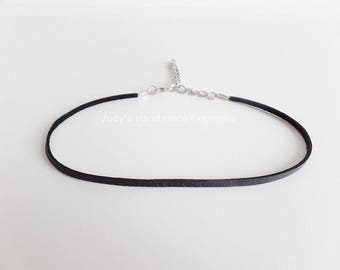 Thin Black Leather Choker Necklace, Black Choker, Leather Choker Necklace, Black Choker Necklace,Chokers For Women , Popular Necklace