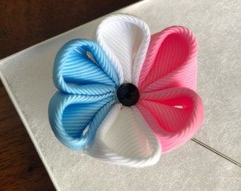 Handmade Trans Pride Fabric Flower Boutonniere / Lapel Pin
