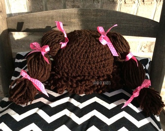 Crochet cabbage patch wig, brown cabbage patch wig, cabbage patch hat, cabbage patch costume, baby yarn wig,