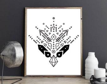 Tribal motif, Tribal print, Boho Print, Tribal Print, Southwest Print,  Tribal Art, Aztec Print, printable art, digital print, geometric