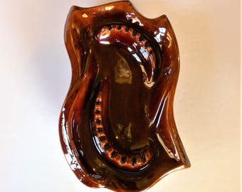 Extra Large Brown Ceramic Ash Tray - Ash Receiver