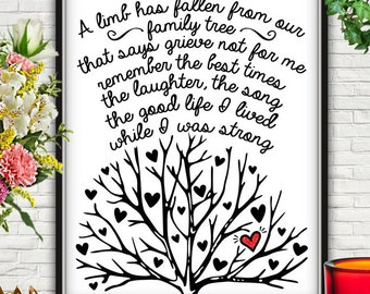 A Limb Has Fallen From The Family Tree, A Limb Has Fallen, Family Tree, Family Tree Wall Art, Family Tree Print, Funeral Printable, Funeral
