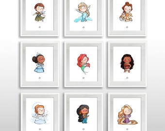 INSTANT DOWNLOAD 17 Disney Princess Characters 8x10 Print Set PRINTABLE Cinderella Elsa Anna Moana + More Watercolor Wall Art Ready to Frame