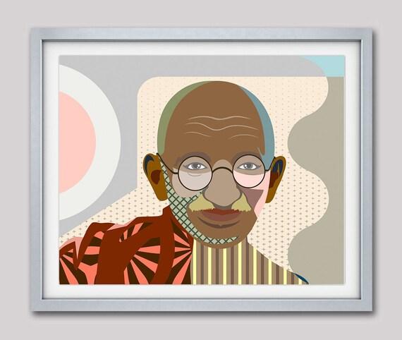 Gandhi Wall Art, Gandhi Print, Gandhi Poster, Gandhi Painting, Indian Decor, Indian Gift, Civil Rights Art, Civil Rights Poster