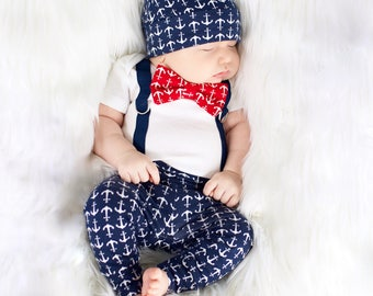 Anchor Newborn Boy Coming Home Outfit. Nautical going home outfit, baby shower gift, home from the hospital outfit. Navy anchors, red