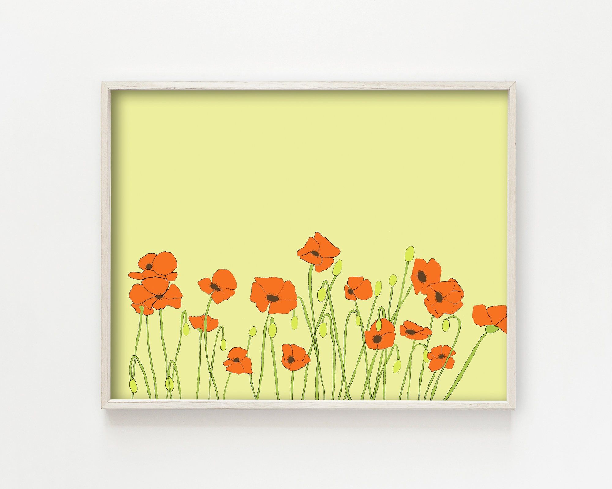 poppies flower art print floral wall decor botanical wall