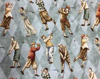 Golfer with Clubs Fabric - Quilting Cotton  [[by the half yard]]