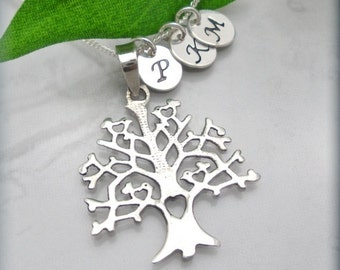 Tree of Life Mothers Necklace, Personalized Jewelry, Family Tree Necklace, Mothers Day Gift, Hand Stamped Initial Necklace