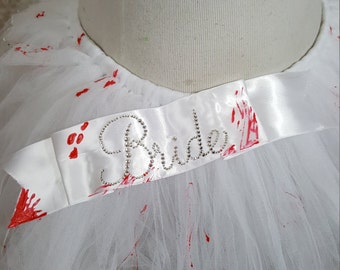 Zombie Bride Tutu with Bloody Bride Sash, High-Low Style OR Single Layer, Halloween Costume, Dead Bride, Bloody Tutu, Corpse Bride, Costume