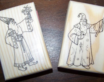 Wizards - Lot of 2 New Mounted Rubber Stamps