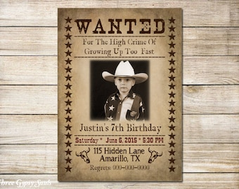 Wanted Invitation Cowboy Birthday Invitation Western Invitation Printable