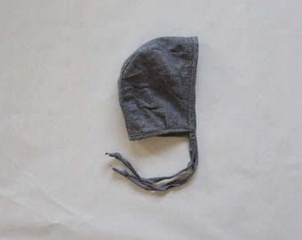 Denim blue linen bonnet