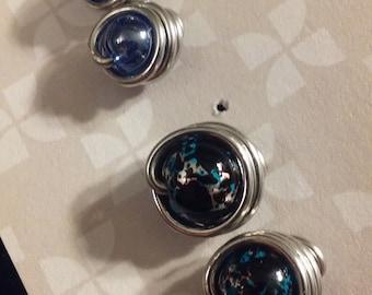 Silver stud earrings, blue or blue black speckled