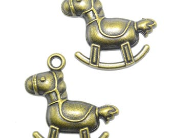 Set of 4 charms/pendant/charms pattern REF:B Bronze rocking horse / 123