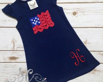 Patriotic Flag Dress Red White Blue Fourth of July 4th