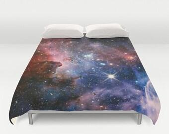 Space Duvet Cover King Size Bed cover King Duvet Queen Duvet Full Duvet Twin Duvet Nebula Duvet Stars Duvet cover Pink Nebula 88x88 104x88